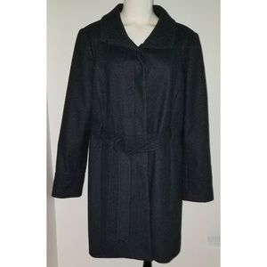 Old Navy Charcoal Gray Wool Blend Coat XL Belted